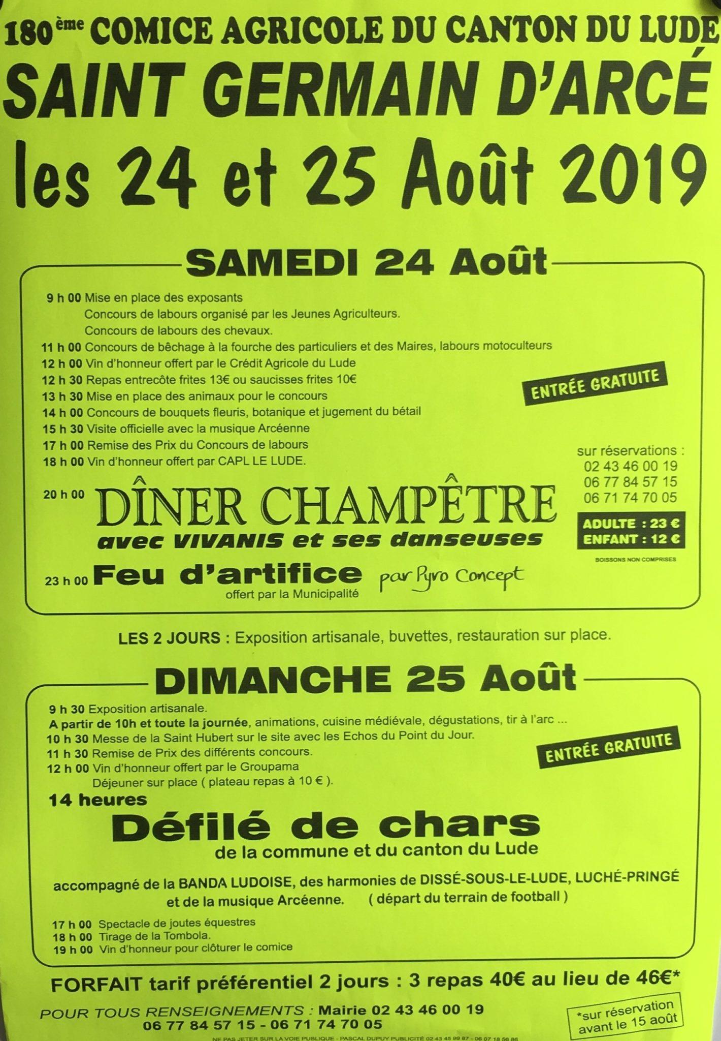 Calendrier Comice Agricole Sarthe 2019.Comice Agricole Le 24 Et 25 Aout La Ville Du Lude
